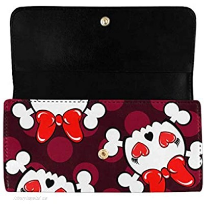 INTERESTPRINT Women's Trifold Long Clutch Purses Cute Skull and Bones with Red Bow Tie Card Holder Wallet Handbags