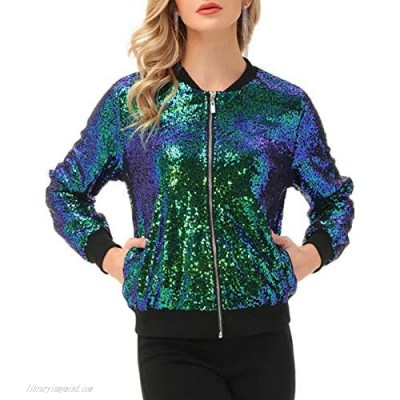KANCY KOLE Womens Sequin Jacket Casual Long Sleeve Front Zip Party Bomber Blazer with Pockets S-2XL