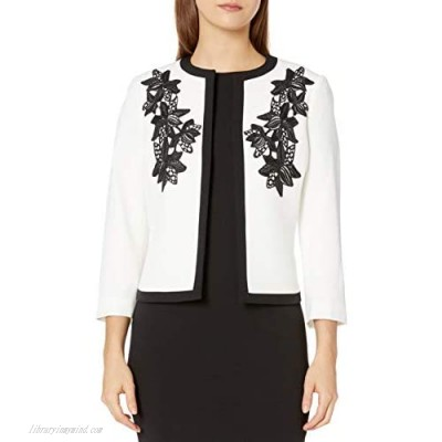 Kasper Women's Jewel Neck Fly Away Jacket with Embroidered Detail