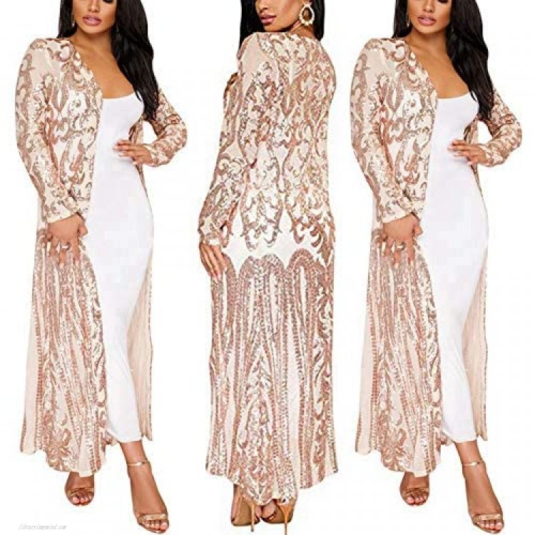 PROMLINK Women's Sequin Cardigans Open Front Long Sleeve Duster for Evening Prom