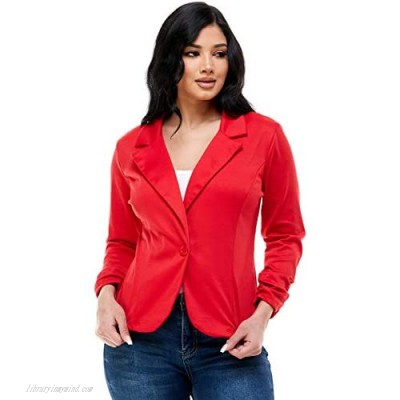 Women's Solid Color Stretch 3/4 Gathered Sleeve Ruched Knit Blazer Regular Plus Jacket