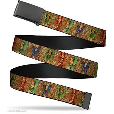 """Buckle-Down Men's Web Belt Tattoo Johnny Fairies Multicolor 1.5"""" Wide-Fits up to 42"""" Pant Size"""