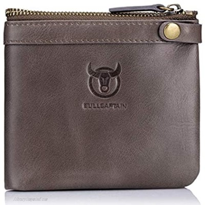 BULLCAPTAIN RFID Blocking Men Wallet Cowhide Leather Bifold Multi-card Holder/Purse with ID Window QB-58 (Light Brown)