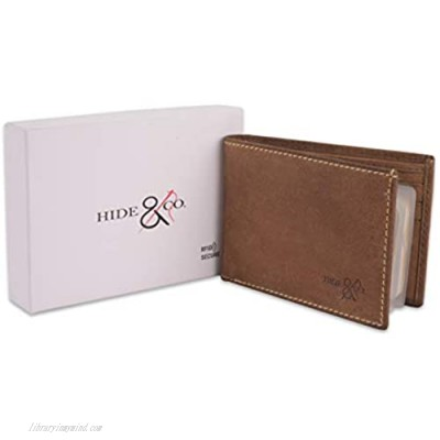 Men's Genuine Handmade Leather Bifold Wallet with Front ID Slot