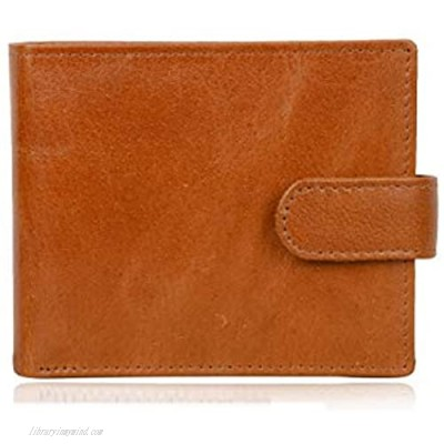 Mens Leather Wallet Genuine Real Leather Quality RFID Blocking Purse Credit Card Holder With Snap Closure Brown Black (Brown)