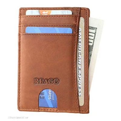 REAGO Handcrafted Front Pocket Small Slim RFID Crazy Horse Leather Wallet for Men Women Credit Card Holder Strong Stitching Slip Pocket ID Window Minimalist Wallet Genuine Leather Rustic Look
