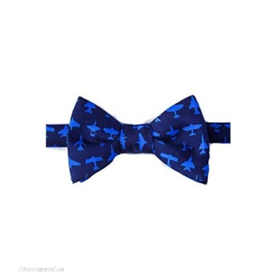 Men's 100% Silk Blue Aviation Military Aircrafts Airplane Butterfly Self Tie Bow Tie