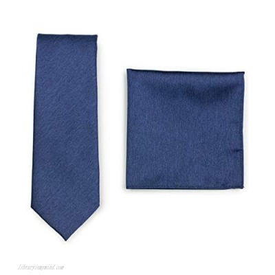 Bows-N-Ties Solid Color Tie + Hanky Set Matte Woven Ties and Pocket Squares 2-piece set