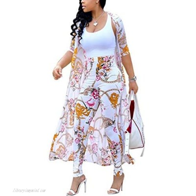 CQWL Womens Fashion Printed Long Cardigans 2 Piece Outfits Long Sleeve Coat and Trousers Set
