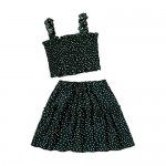 LYANER Women's 2 Piece Outfits Ruffle Frill Smocked Crop Cami Tank Top and Flared Mini Skirt Set