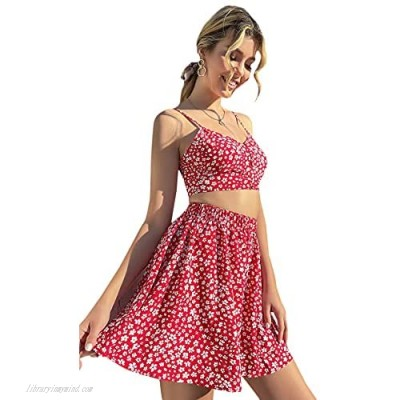 MakeMeChic Women's Floral Print Crop Cami Top and Mini Skirts Set 2 Piece Outfits