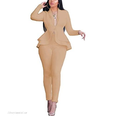 Pant Suits for Women - Elegant Two Piece Outfits Long Sleeve Blazer + Skinny Pants Sets