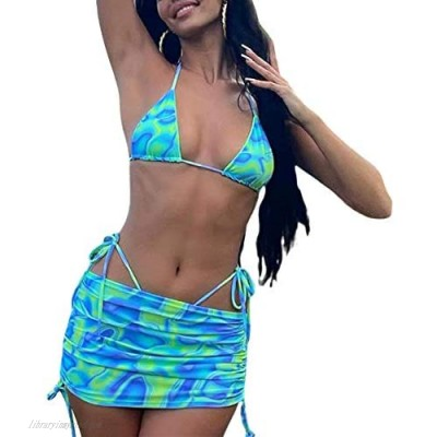 Sexy Halter Neck Tie Dye 2 Piece Set for Women Bikini Tops and Drawstring Ruched Skirt Set Y2K Fashion E-Girl Outfits