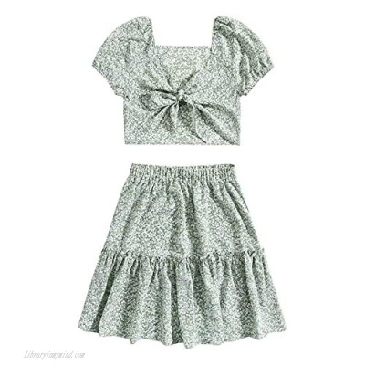 SheIn Women's 2 Piece Boho Floral Tie Front Crop Top and Frill Trim Skirt Set