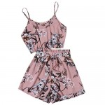 SheIn Women's Floral Print Sleeveless Crop Cami Top with Belted Shorts Set Outfits