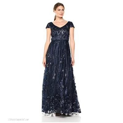 Alex Evenings Women's Long Cap Sleeve Embroidered Ballgown Dress with Sequin