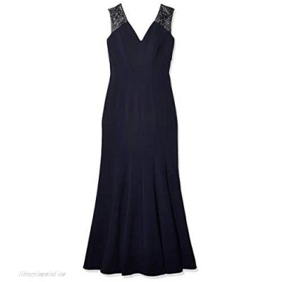 Alex Evenings Women's Long Fit and Flare Dress with Beaded Illusion Straps