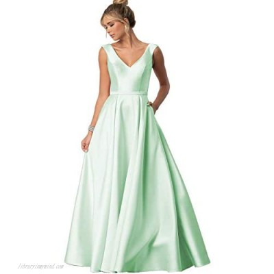 Stylefun Elegant Prom Dresses Long Ball Gown for Women Simple V-Neck A-line Satin Formal Gowns HD62